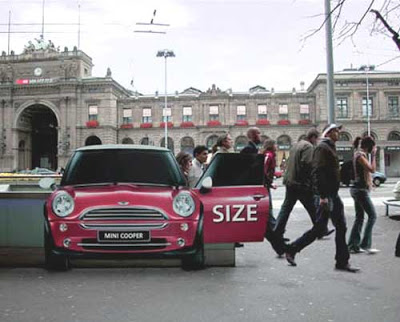 street marketing affichage mini cooper