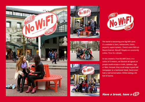Kit Kat street marketing no wifi zone