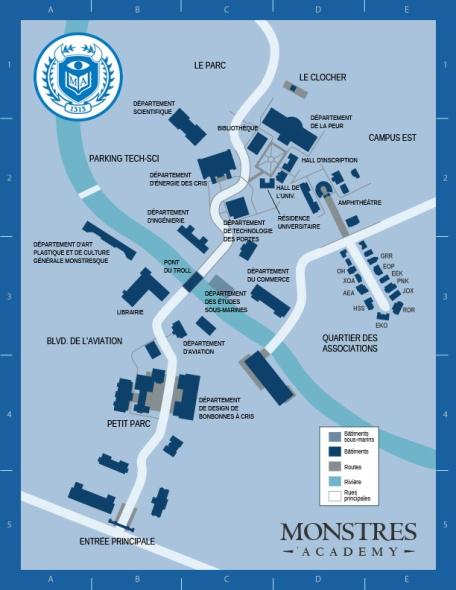 Plan campus Monstres Academy