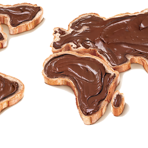 nutella world map bread