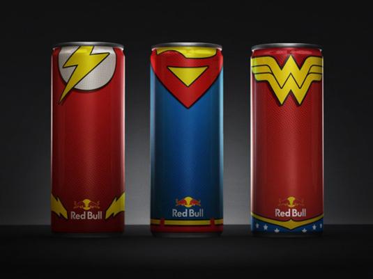 redbull canettes super héros